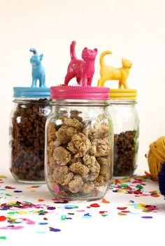 Cat Food Storage Crunchy Tuna Cat Treats ~ P. the jars shown in these photographs would make amazing gift jars - just add treats! - Your home for all things Design. Home Tours, DIY Project, City Guides, Shopping Guides, Before Food Dog, Dog Food Recipes, Cat Recipes, Diy Pour Chien, Joy The Baker, Ideias Diy, Pet Treats, Kitten Treats, Homemade Dog