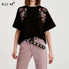 Womens Tops and Short Sleeve Round Neck Women's T-shirts Embroidered Floral  Print Women's Clothing