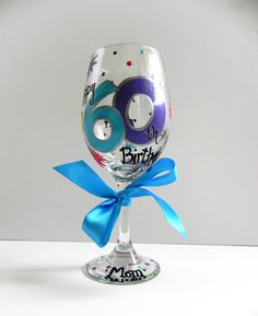 Birthday Wine Glass Coordinated to Match Party by SassyPeasDesigns Decorated Wine Glasses, Painted Wine Glasses, Glass Painting Designs, Paint Designs, Birthday Cup, Birthday Wishes, Glitter Glasses, Wine Painting, Paint Party