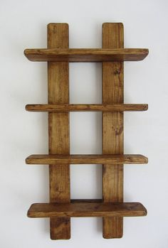 tall shabby chic rustic reclaimed wood 4 tier floating shelf / trinket shelves / display shelves / spice rack - Rustic old wood 4 tier floating display shelves. Handmade from recycled wood. Finished in antique b - Wooden Pallet Projects, Wood Pallet Furniture, Woodworking Projects Diy, Wooden Pallets, Wood Crafts Furniture, Recycled Timber Furniture, Modern Furniture, Handmade Wood Furniture, Furniture Design