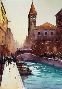 Joseph Zbukvic watercolor, Venice