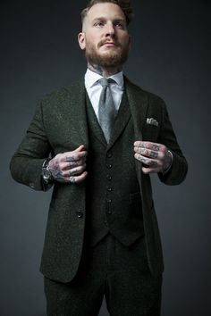 """Green donegal dandy suit 'We are not your father's tailor"""" Wedding Men, Wedding Suits, Wedding Attire, Wedding Groom, Wedding Stuff, Mens Fashion Suits, Mens Suits, Olive Green Suit, Green Wedding Suit"""
