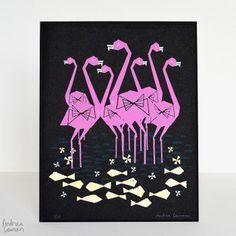 Flamingo: Original Serigrafía Lámina por Andrea Lauren