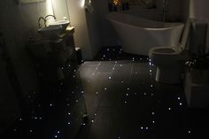 star floor lighting in bathroom with fiber optic cable//