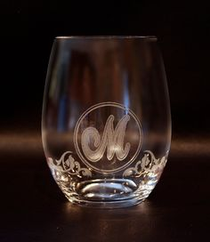 Monogrammed Stemless Wine Glass by LaserGraphic on Etsy
