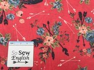FT Soft Red floral feathered arrows - Poly Rayon Spandex French Terry - By the yard Yard Care, French Terry, Knitted Fabric, Spandex, Sewing, Knitting, Floral, Red, Arrows