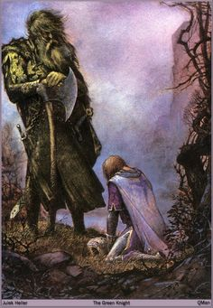 This is probably one of my favorite depictions of the Green Knight and Gawain because Gawain is clearly defeated (embarrassed and ashamed) whereas the Green Knight stands strong, looking downwards on him but not lifting his axe against him.