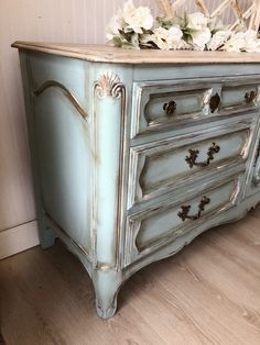 Sold French Provincial Dresser Buffet Tv Stand Green French County Farmhouse Cottage - Furniture Home Decor Painted Bedroom Furniture, Chalk Paint Furniture, Refurbished Furniture, Repurposed Furniture, Shabby Chic Furniture, Furniture Projects, Rustic Furniture, Furniture Makeover, Vintage Furniture