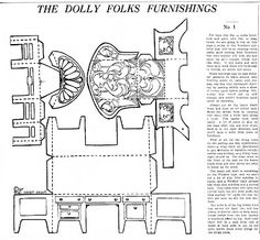 Mostly Paper Dolls: Dolly Folks Furnishings 1921 Paper Furniture, Furniture Dolly, Paper Doll House, Paper Houses, Miniature Furniture, Dollhouse Furniture, Diy Paper, Paper Crafts, Diy Crafts