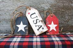 FREE SHIP USA Wood Tags Patriotic Memorial DAY STAR 4TH of July Americana folk art  by TheUnpolishedBarn