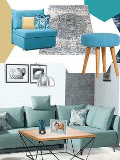 Pastellblau, Kobalt-Blau, Indigo oder Petrol – dank einer breiten Palette an Schattierungen bietet der Farbentrend Blau viele Gestaltungsmöglichkeiten. Aber Achtung, ein vollständig blauer Raum wirkt schnell zu kalt. Am besten kombinieren Sie dazu helle Farben und Naturmaterialien wie Leinen oder Webstoffe. Sie lassen die Farbe im Raum nicht zu dominant wirken. Komplementär passen die Farben Orange, Gelb und Rot ebenfalls zum Blauton. Palette, Love Seat, Kobalt, Couch, Throw Pillows, Indigo, Furniture, Orange, Home Decor
