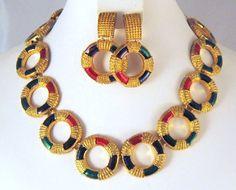 Signed Enameled B & K Necklace Earrings Gold-tone