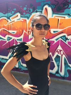 Black and Gold or Silver Fluer de Lis Feather Epaulettes Festival, Rave, Burning Man statement shoulder jewelry