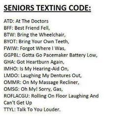 Seniors Texting Code