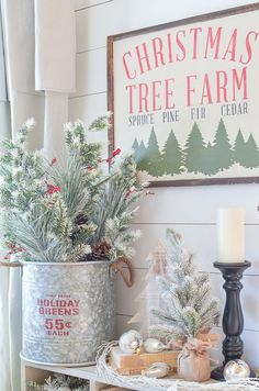 Neutral Farmhouse Christmas Decor in the Front Room – Christmas Decorations Christmas Tree Farm, Farmhouse Christmas Decor, Country Christmas, All Things Christmas, Christmas Home, Vintage Christmas, Christmas Holidays, Christmas Crafts, White Christmas