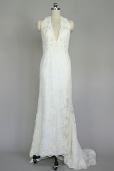 Satin gown with lace overlay by Casablanca