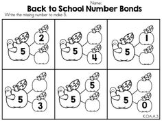 Back to School Number Bonds >> Part of the Back to School Kindergarten Math Worksheets Packet by United Teaching