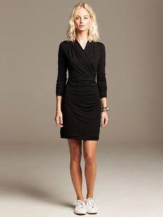 Black Knit Faux-Wrap Dress Product Image