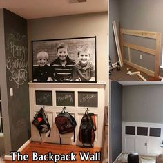 the Backpack Wall.love the chalkboard wall too! I must figure out where the new backpack wall will be this year. Backpack Wall, Diy Backpack, Backpack Hooks, Photo Backpack, Puppy Backpack, Hiking Backpack, Decoration Entree, Ideas Para Organizar, Diy Casa