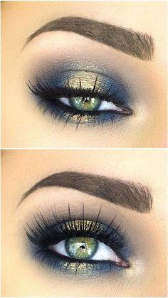 Blues of the Sea eye makeup look, list of makeup products, makeup hacks, blue and gold eyeshadow, smokey eye makeup, eye makeup ideas, eye makeup tutorial. #goldeyemakeup