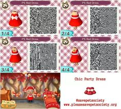 Animal Crossing ACNL QR code Pet Society red dress