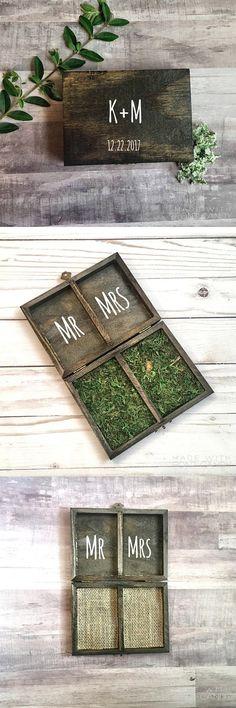 Ring Bearer Box - Wedding Ring Box - Mr. And Mrs. Ring Bearer Box - Double Ring Box- Rustic Wedding Decor #weddings #weddingbands #weddingdresses #ringbearer #weddingdecor #engagementrings #weddingring