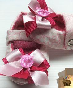 Sapatinho Chanel Estampa Ursinho Rosa (Ref.1049-s)