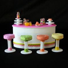 CLEARANCE - Doll House Furniture - Brightly colored Candy Bar - Four Upholstered Stools with Bar and Accessories