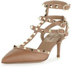 Valentino Rockstud Leather Mid-Heel Slingback, Taupe on shopstyle.com