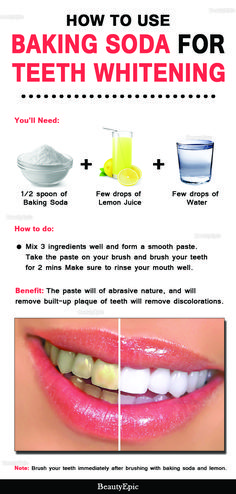 Natural Teeth Whitening Remedies How to Use Baking Soda for Teeth Whitening - Many say that baking soda is good for whitening teeth in a natural way. But How to use baking soda for teeth whitening is a big question for us. Baking Soda Teeth, Baking Soda Shampoo, Baking Soda Whitening Teeth, Homemade Teeth Whitening, Uses For Baking Soda, Baking Soda Lemon Juice, Homemade Toothpaste, Baking Soda Shoe Cleaner, Brushing With Baking Soda