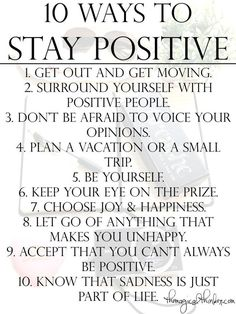 How do we get back to positive thinking and stay there? Here's my list.