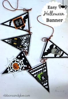 Tutorial on how to create an easy Halloween Banner with a premade banner, scrapbooking paper and embellishments