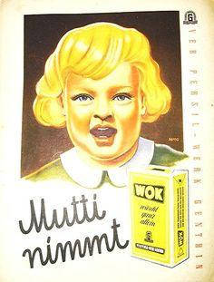 """""""Mutti nimmt #WOK"""" - Anzeige vom #VEB #PERSIL Werk #Genthin, #DDR - Datum unbekannt - ... (zu dieser Zeit durfte die DDR noch die Marke """"Henkel"""" benutzen) ---- #GDR Advertisement """"Mommy uses WOK"""" (washing powder) - date unknown"""