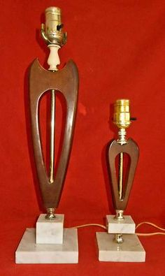 Vintage Mid Century Mod Valentine Decor Pair Lamps Heart Wood Italian Marble
