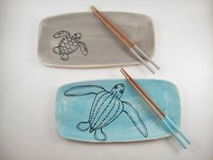 Rectangle Sea Turtle Plate by elizabethpottery on Etsy, $22.00