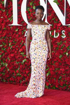 Celebrating the Tony Awards with a floral affair. Lupita Nyong'o in Hugo Boss. Manicure by Deborah Lippmann! xoxo