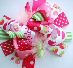 boutique STRAWBERRY GIRL FUNKY fun hair bow by andjane on Etsy, $12.99