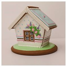 GINGERBREAD HOUSE~White Spring gingerbread  house