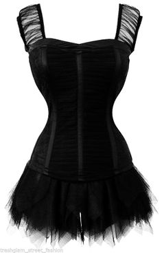 PLUS SIZE Gothic vampire Queen WITCH black corset top pixie tulle skirt dress