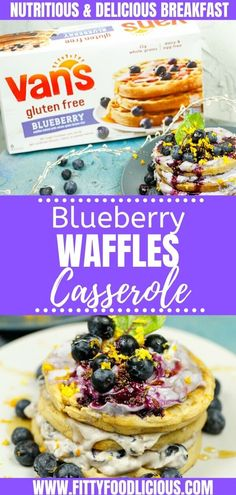 AD Make breakfast easy this weekend by making my delicious Blueberry Waffles Casserole featuring Van's Foods this recipe is easy and super fun for the entire family to make! Best Breakfast Recipes, Quick And Easy Breakfast, How To Make Breakfast, Perfect Breakfast, Breakfast Ideas, Breakfast Waffles, Breakfast Dishes, Breakfast Casserole, Pancakes