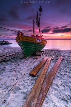 Sunset Beach Boat Fisherman Sky Sand Seascape Purple Sunrise Source 500px.com