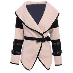 Stylish Turn Down Collar Color Block Long Sleeve Coat For Women (€25) ❤ liked on Polyvore featuring outerwear, coats, jackets, rosegal, overwear, color block coats, colorblock coat, long sleeve coat, pink coat and collar coat