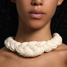 Braided Choker Necklace Tribal SUMMER SALE  Collar Fabric Jewelry Neckpiece African Cream White Braid Knotted