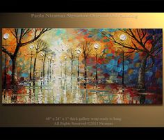 """ORIGINAL Abstract Contemporary  Park Lights Oil Painting Heavy Palette Knife Texture by Paula Nizamas Ready to Hang 48"""", $450.00"""