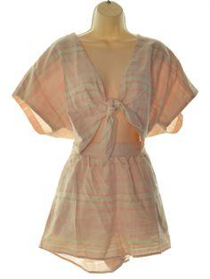 4b12cb0534 Lea   Viola 6073 Size Large L Light Pink Striped Romper Jumpsuit Open-Front   69