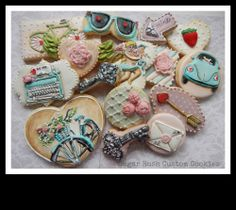 Valentine Cookies by Sugar Rush Custom Cookies - some of the most amazing little pieces of art you will see on a cookie - these are just one sample of her incredible talent