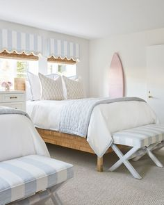 Home/Room Tour: The Sisters Suite by Serena and Lily and Palm Beach Lately at The Colony Step inside Palm Beach Lately's latest project with Serena and Lilly at The Colony Hotel. - The Sisters Suite , girls room Beach House Bedroom, Beach House Decor, Home Bedroom, Bedroom Decor, Beach Houses, Beach Home Decorating, Beach Room Decor, Palm Beach Decor, Bedroom Ideas