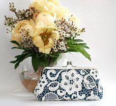 ANGEE W. L'Heritage (Legacy) - White Lace Clutch in Navy Blue - 8-inch $50