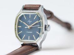 Women's watch Luch silver tone wrist watch navy face by SovietEra, $59.00
