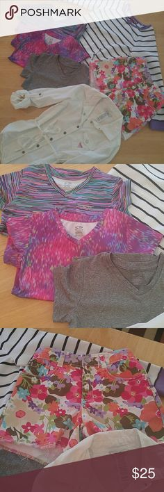 Girls clothing bundle Girls EUC clothing bundle. 3 Champion Duo Dry tops M 7/8. One pair of shorts Gymboree size 8. One Guess Jeans tunic size 8/10 and a Epic Threads pull on sweatshirt size M. Tops